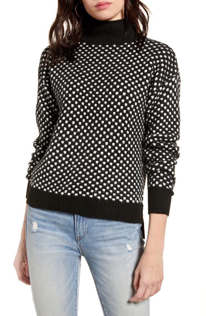 BP. Check Mock Neck Sweater, Main, color, BLACK-IVORY