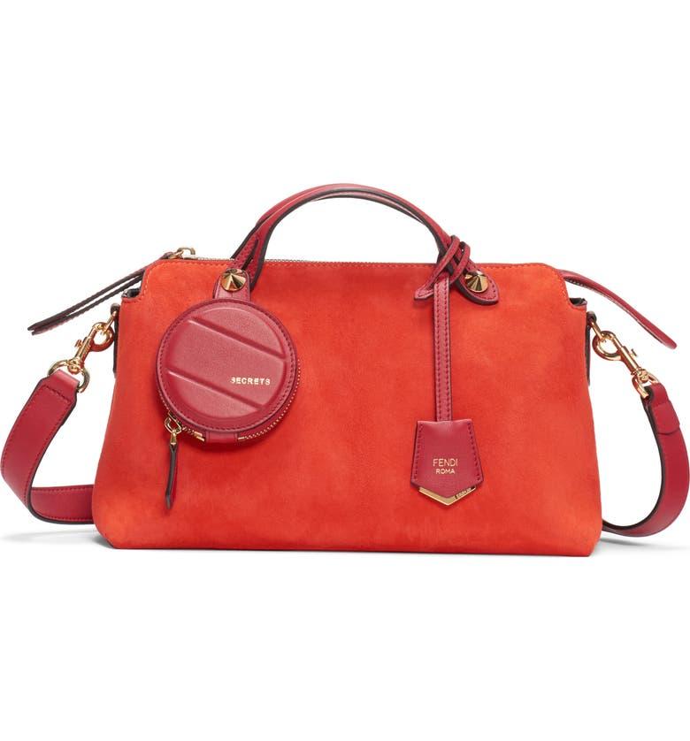 FENDI Medium By the Way Suede Shoulder Bag, Main, color, RED/ FRAGOLA