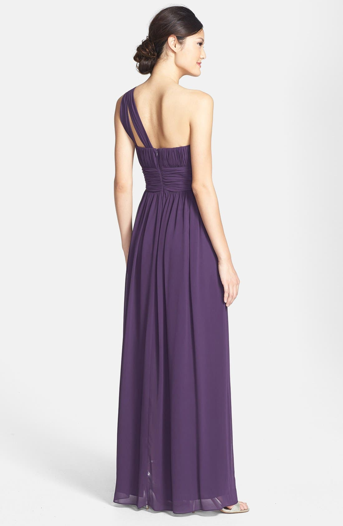 ,                             'Rachel' Ruched One-Shoulder Chiffon Gown,                             Alternate thumbnail 82, color,                             513