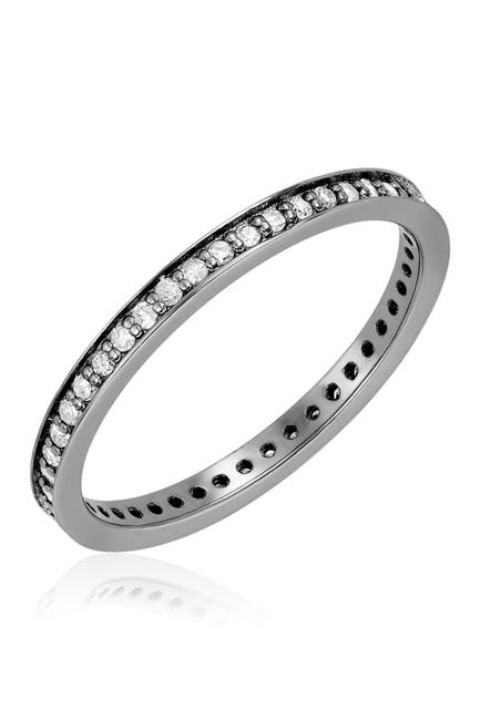 Image of ADORNIA Fine Black Rhodium Plated Diamond Eternity Band Ring - 0.35 ctw