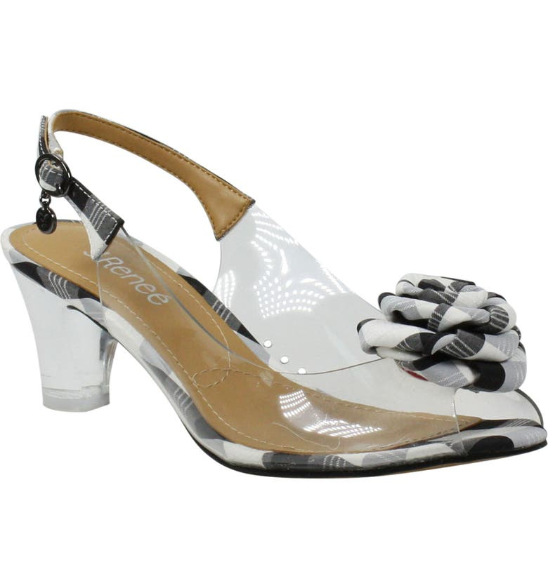 J. RENEÉ Dailona Slingback Sandal, Main, color, BLACK/ WHITE GINGHAM/ CLEAR