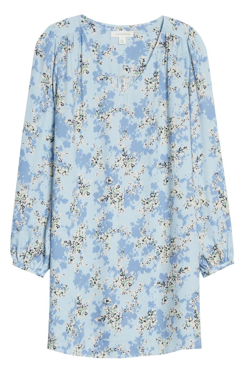 TREASURE & BOND V-Neck Long Sleeve Shift Minidress, Main, color, BLUE- IVORY LARKSPUR FLORAL