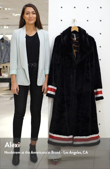 Grosgrain Ribbon Trim Faux Fur Swing Coat, sales video thumbnail