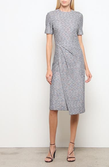 St John Collection Space Dyed Ribbon Tweed Sheath Dress, video thumbnail