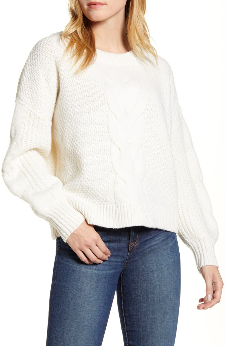 J.CREW Cable Knit Balloon Sleeve Sweater, Main, color, IVORY