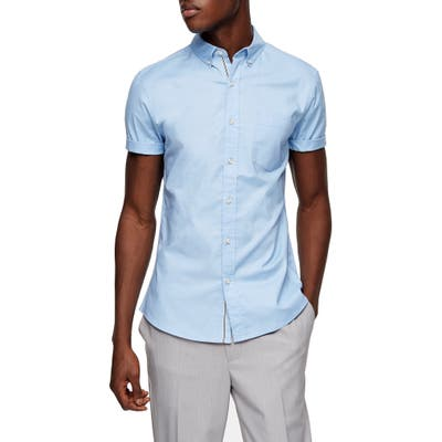 Topman Stripe Tape Short Sleeve Button-Down Shirt, Blue