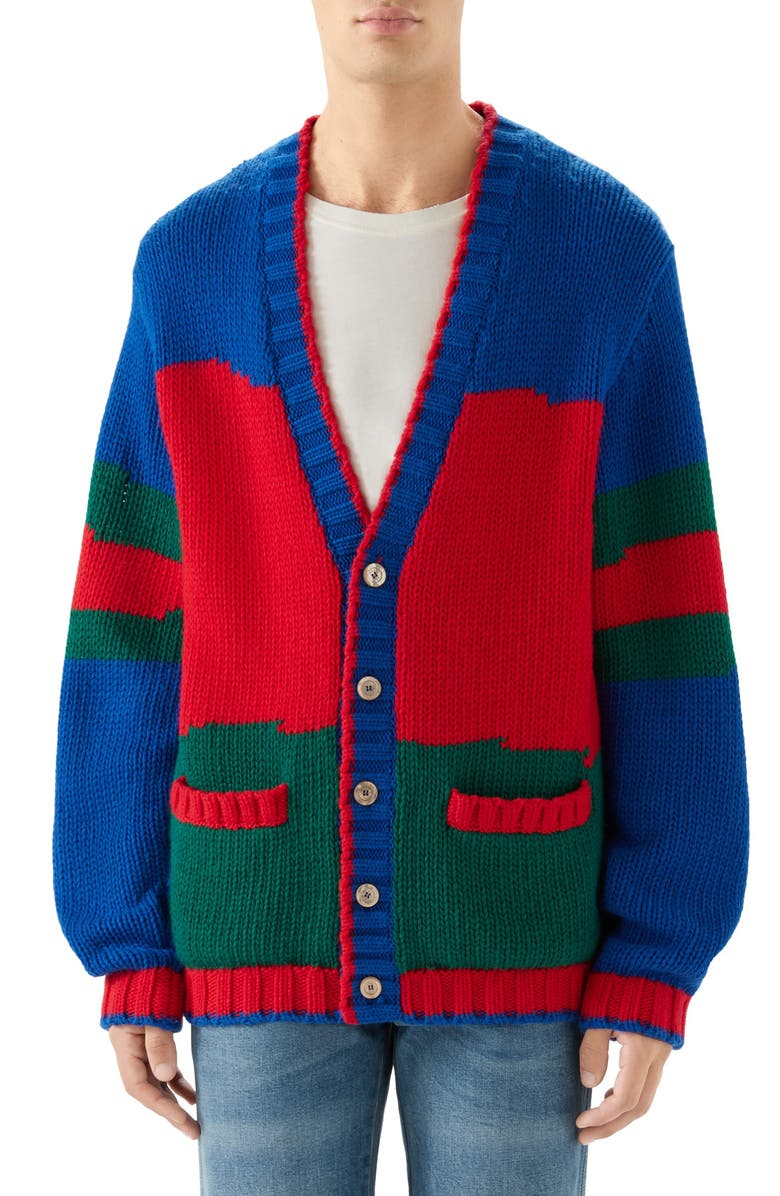 GUCCI Oversize Colorblock Wool Cardigan, Main, color, RED