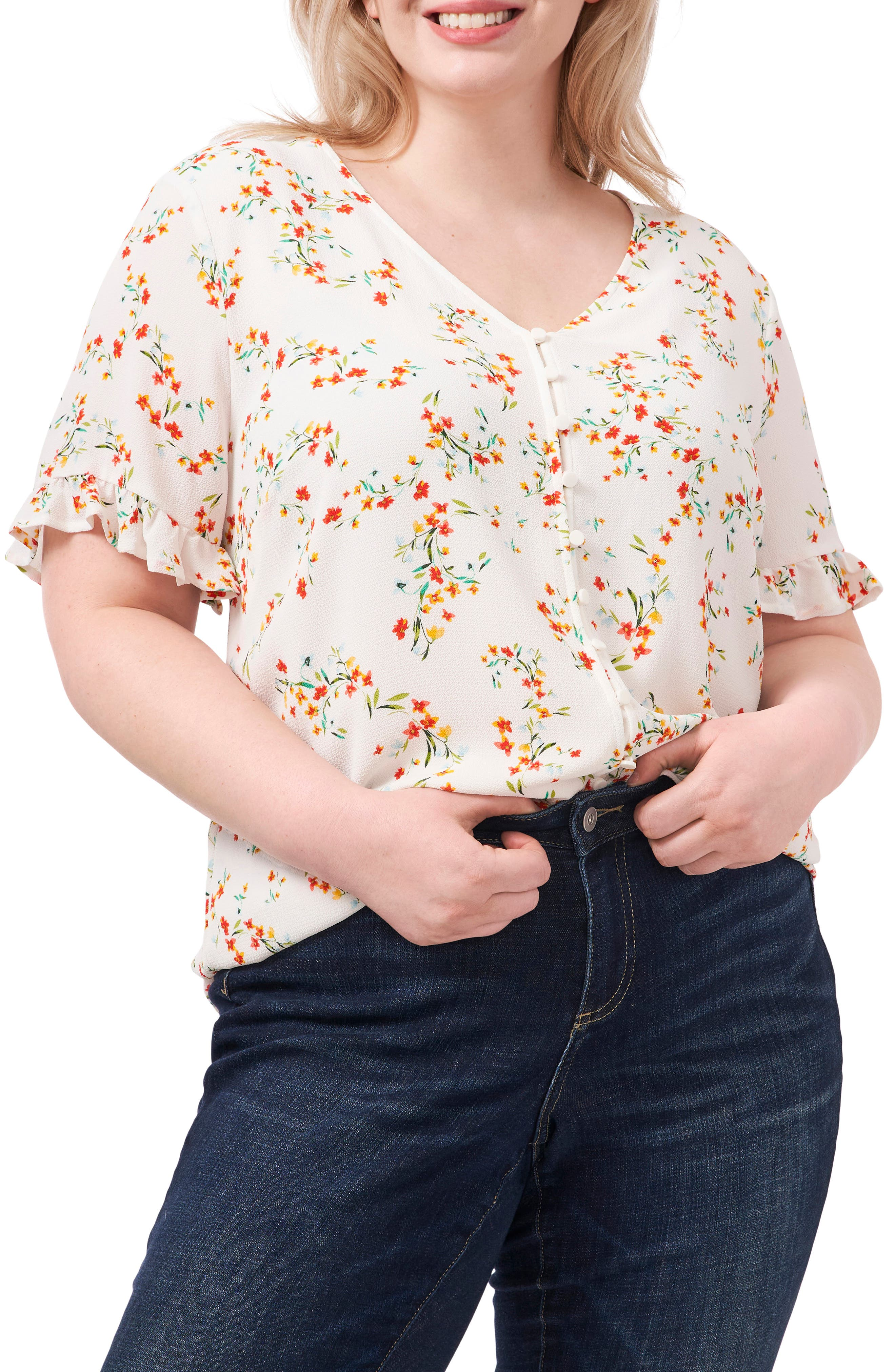 Blustery Buds Floral Frill Sleeve Blouse