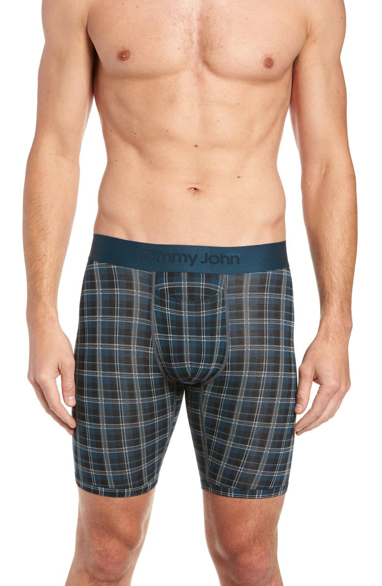 TOMMY JOHN Second Skin Plaid Boxer Briefs, Main, color, REFLECTING POND