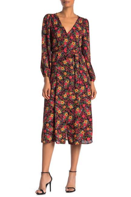 Image of Bobeau Floral Long Sleeve Midi Dress