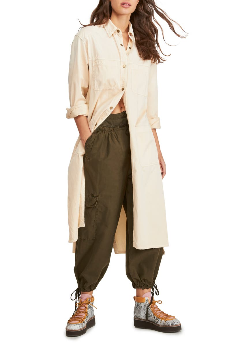 FREE PEOPLE Fearless Longline Shirt, Main, color, IVORY