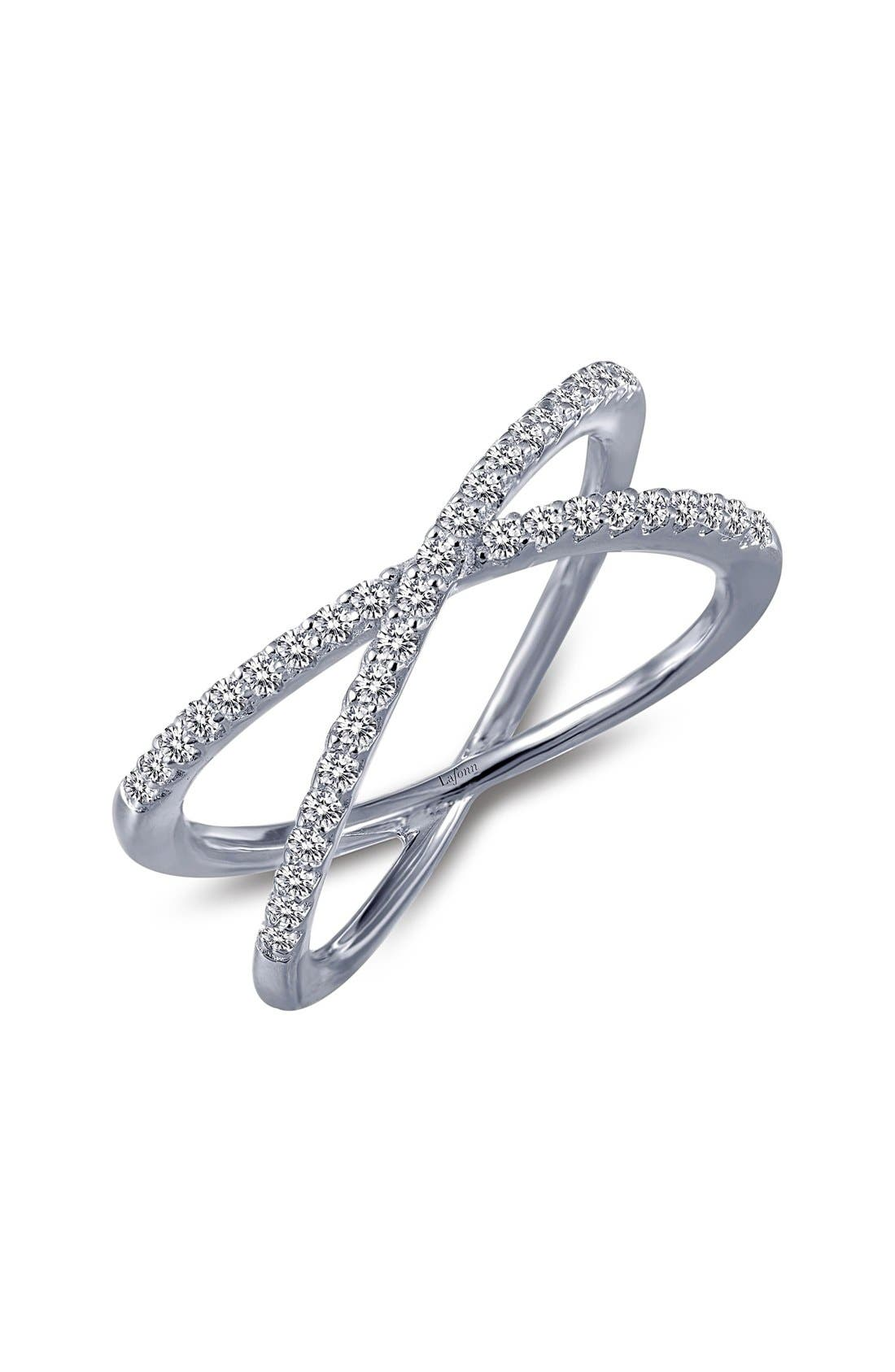 Slender bands encrusted with 39 shimmering simulated diamonds crisscross to create an ultra-modern, stackable ring with a bit of cool-girl edge. Style Name: Lafonn Classic Crossover Ring. Style Number: 5304874. Available in stores.