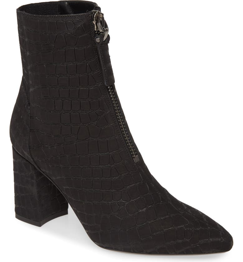AQUATALIA Prudence Weatherproof Block Heel Bootie, Main, color, BLACK EMOSSED CROC PRINT
