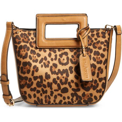 Sole Society Amber Faux Leather Leopard Print Crossbody Tote - Brown