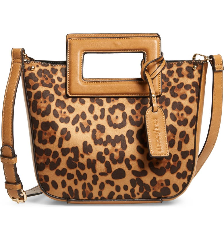SOLE SOCIETY Amber Faux Leather Leopard Print Crossbody Tote, Main, color, COGNAC LEOPARD