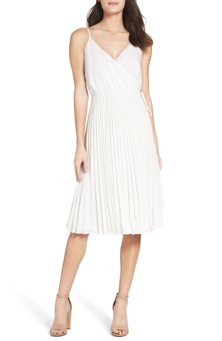 ALI & JAY Lily Pond Faux Wrap Pleated Midi Dress, Main, color, WHITE
