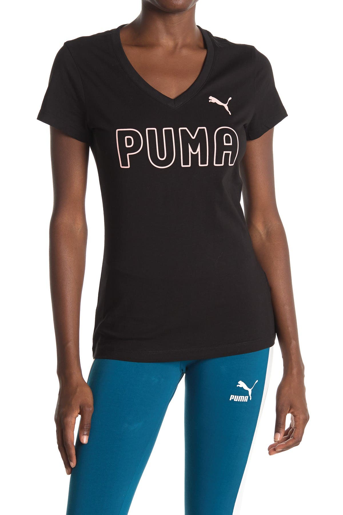 Image of PUMA Stacked Outline V-Neck Tee