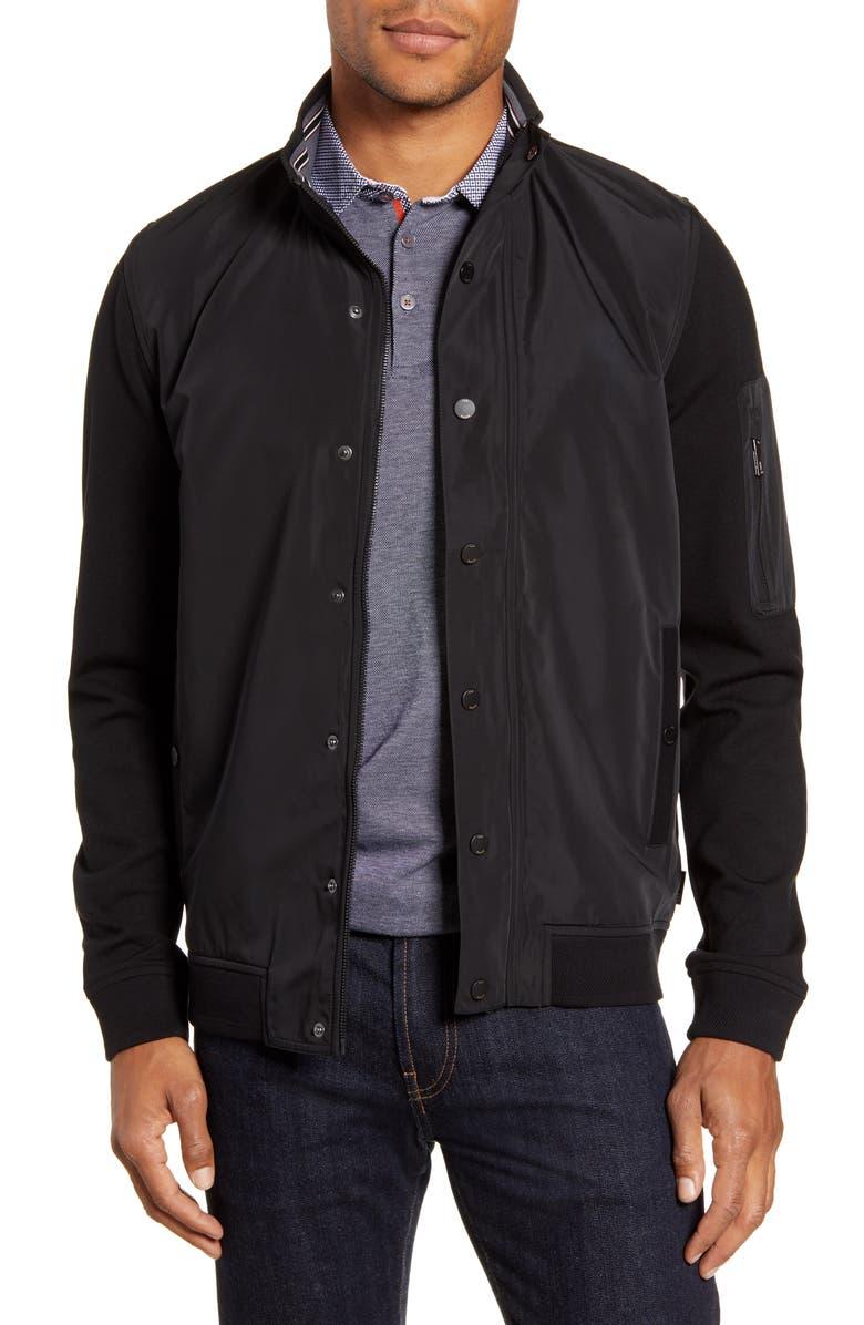 TED BAKER LONDON Lerner Mixed Media Jacket, Main, color, BLACK