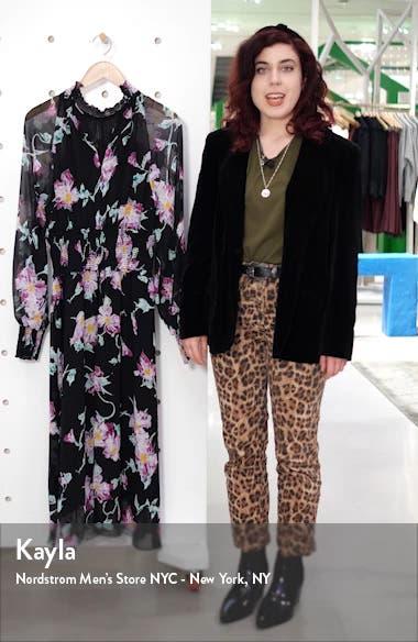 Casey Floral Long Sleeve Silk Midi Dress, sales video thumbnail