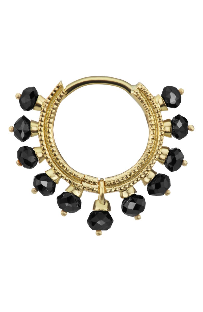 MARIA TASH Coronet 8mm Black Diamond Earring, Main, color, YELLOW GOLD
