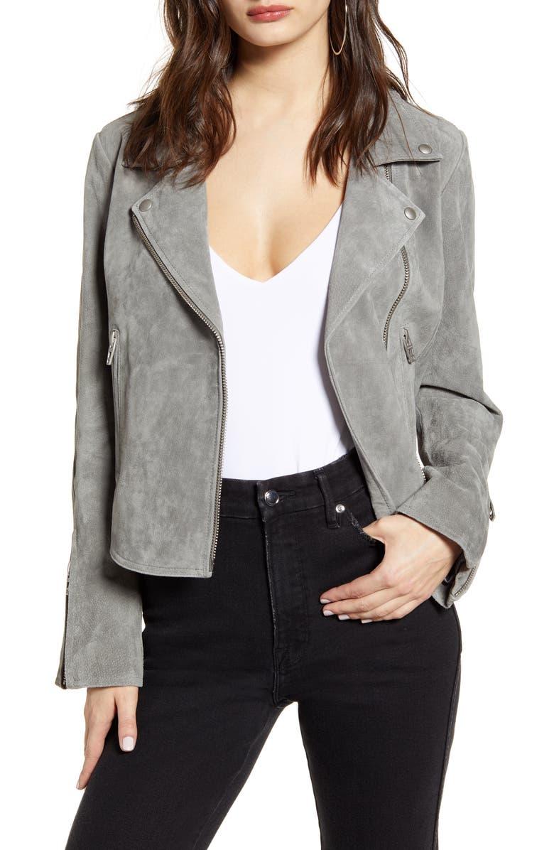 BLANKNYC Next Level Suede Moto Jacket, Main, color, SOFT FOG