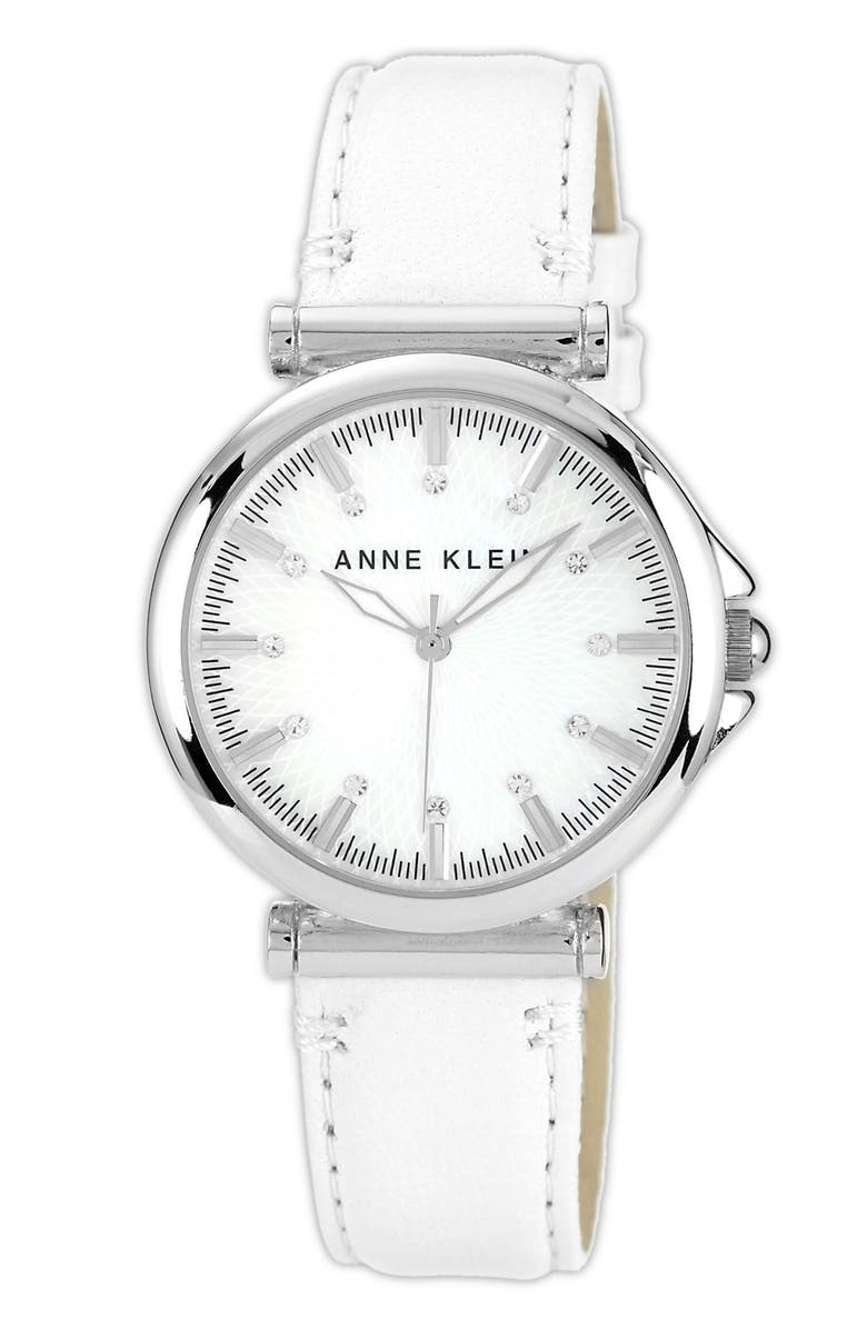 ANNE KLEIN Crystal Index Leather Strap Watch, 36mm, Main, color, 100