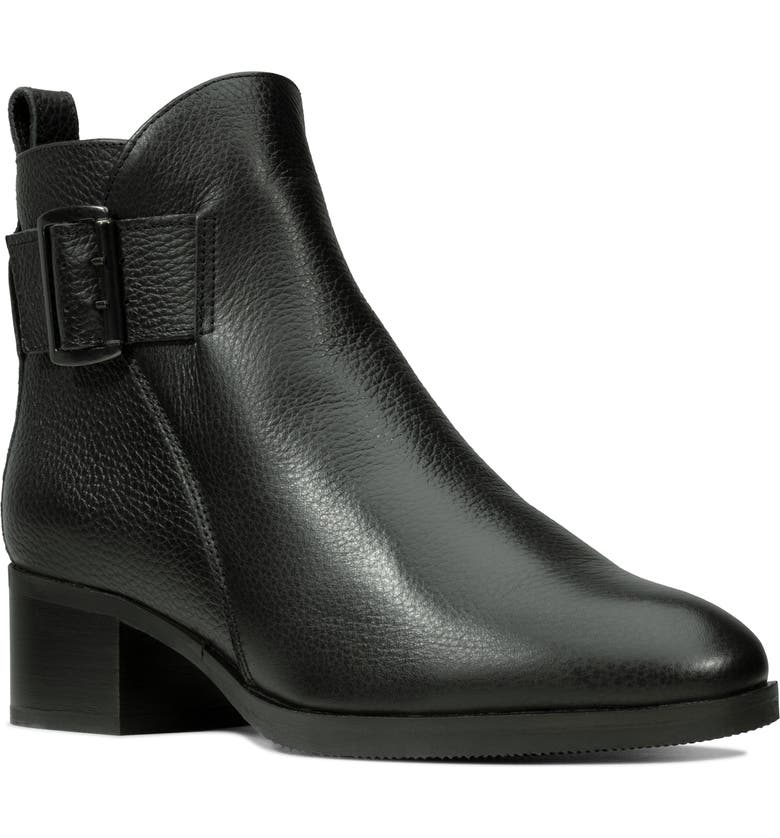 CLARKS<SUP>®</SUP> Mila Charm Bootie, Main, color, BLACK LEATHER