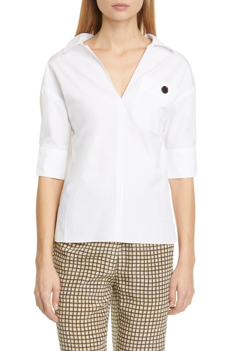 MARNI Cotton Poplin Polo, Main, color, LILY WHITE