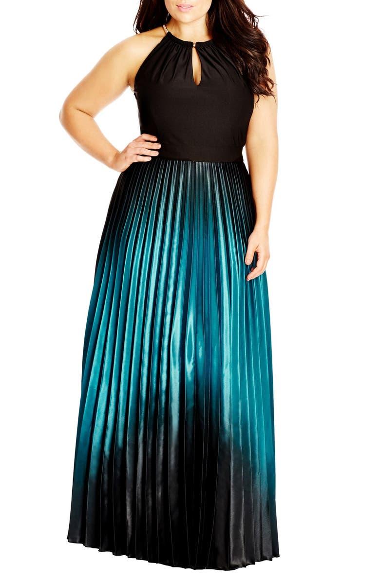 CITY CHIC Ombré Keyhole Neck Pleat Maxi Dress, Main, color, BLACK