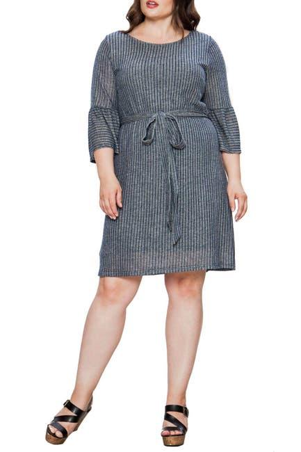 Image of A.Calin Striped Ruffle Cuff Dress