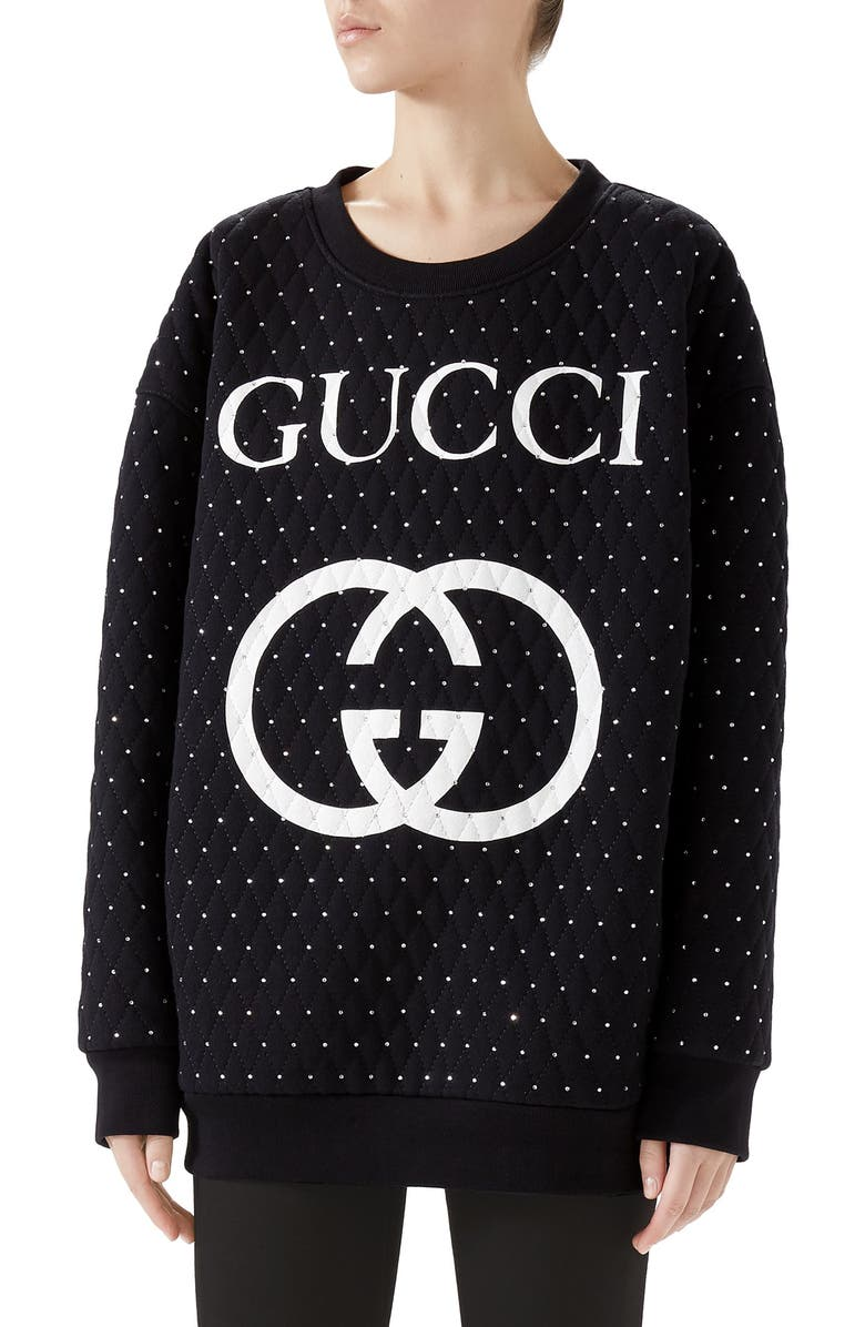 GUCCI Logo Crystal Sweatshirt, Main, color, BLACK