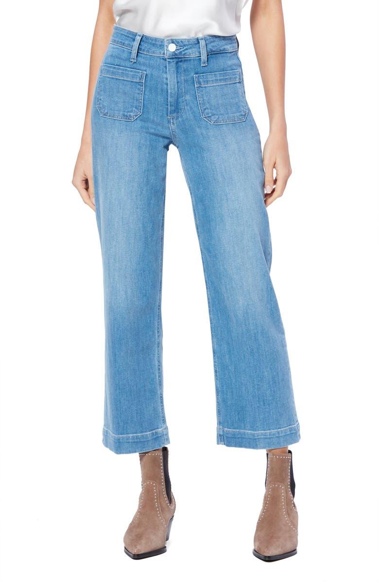 PAIGE Nellie High Waist Patch Pocket Culotte Jeans, Main, color, 400