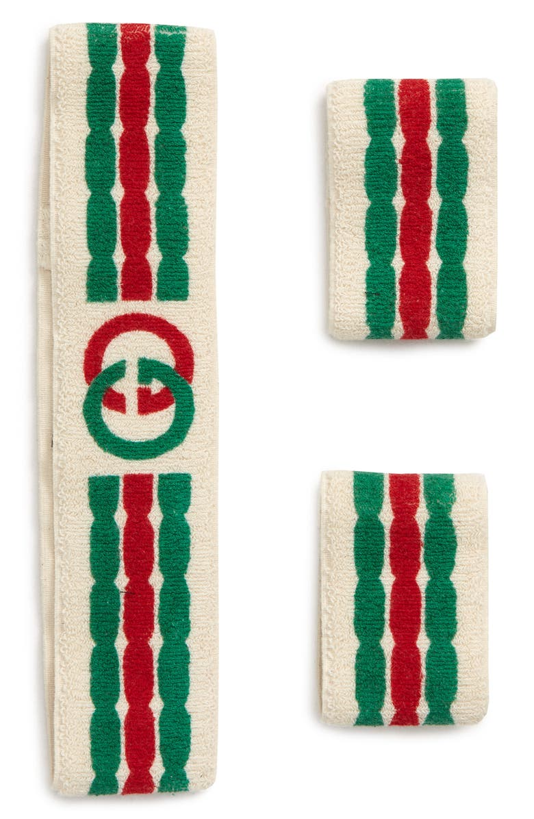 GUCCI Interlocking-G Stripe Sweatband & Wrist Bands, Main, color, 900