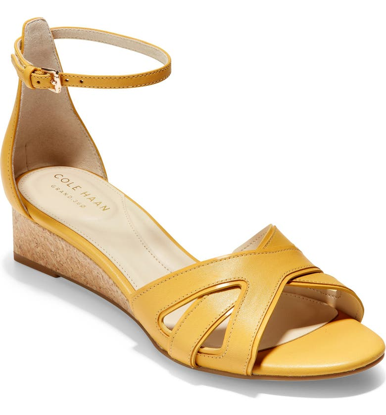 COLE HAAN Hana Grand Wedge Sandal, Main, color, SUNSET GOLD LEATHER