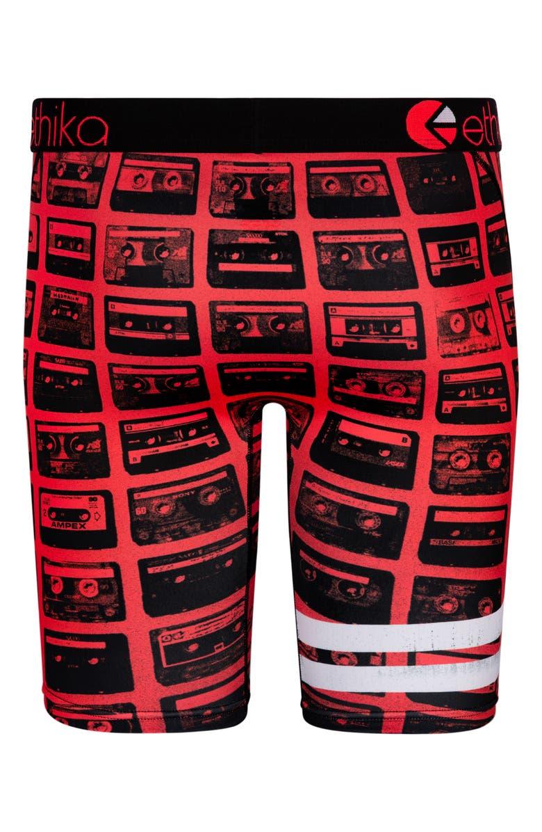 ETHIKA Mix Tape Boxer Briefs, Main, color, BLACK/ RED