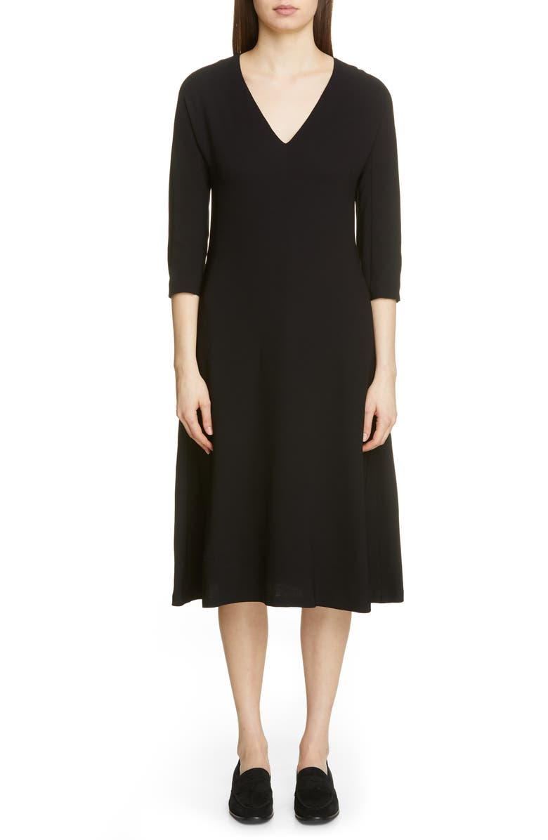 FABIANA FILIPPI V-Neck Midi Dress, Main, color, BLACK