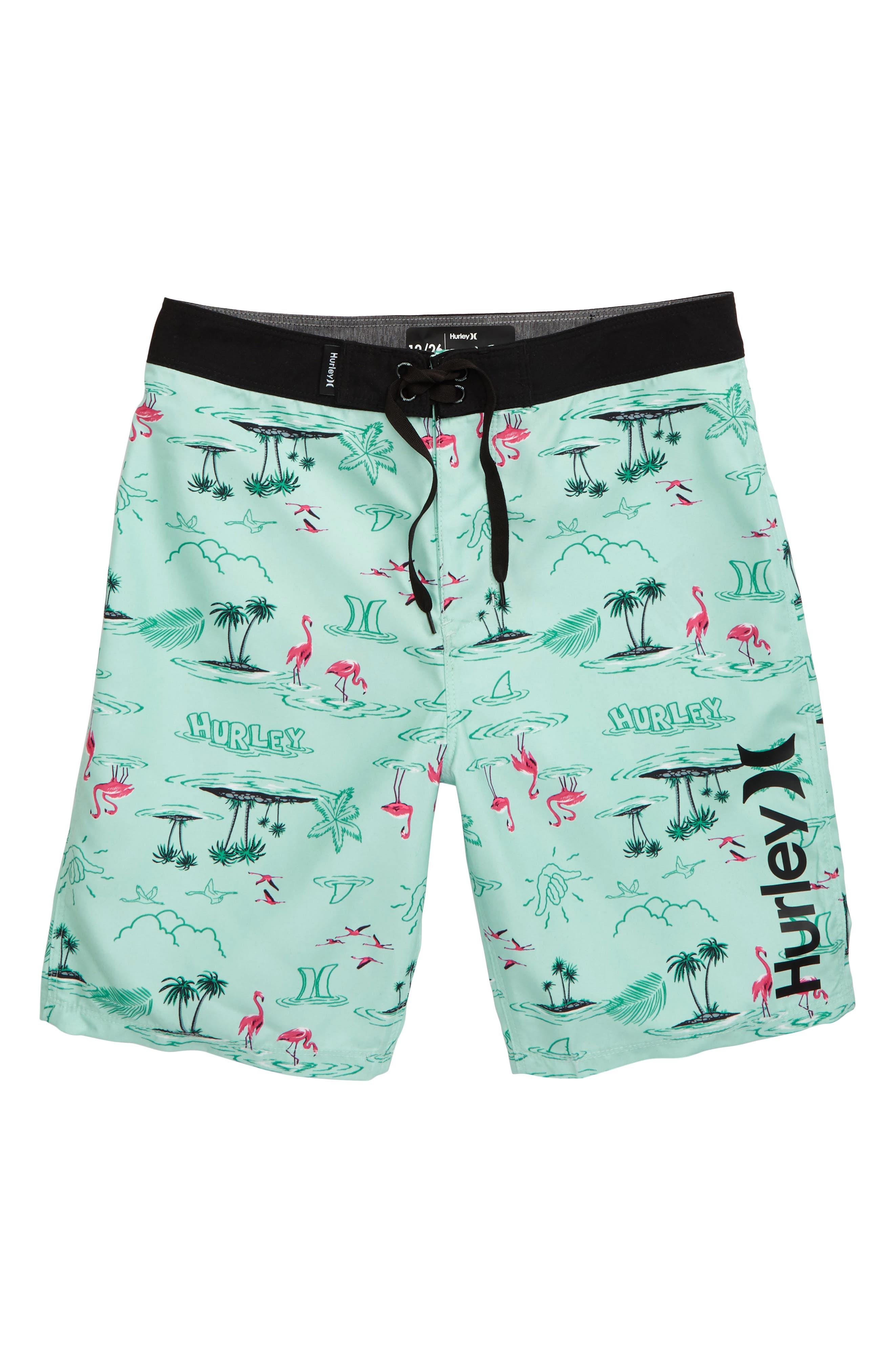 Boys Hurley Flamingo Board Shorts Size 8  Bluegreen