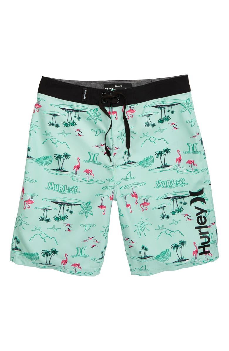 HURLEY Flamingo Board Shorts, Main, color, TEAL TINT