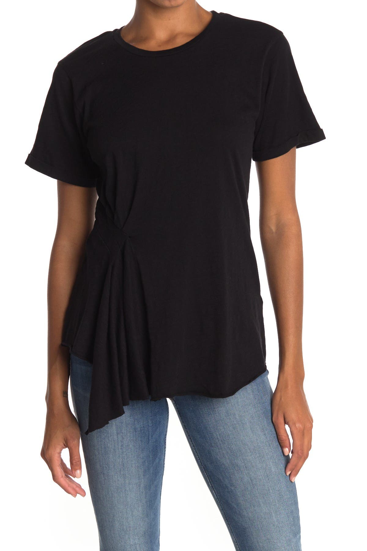 Image of ALLSAINTS Robi Pleated Asymmetrical T-Shirt