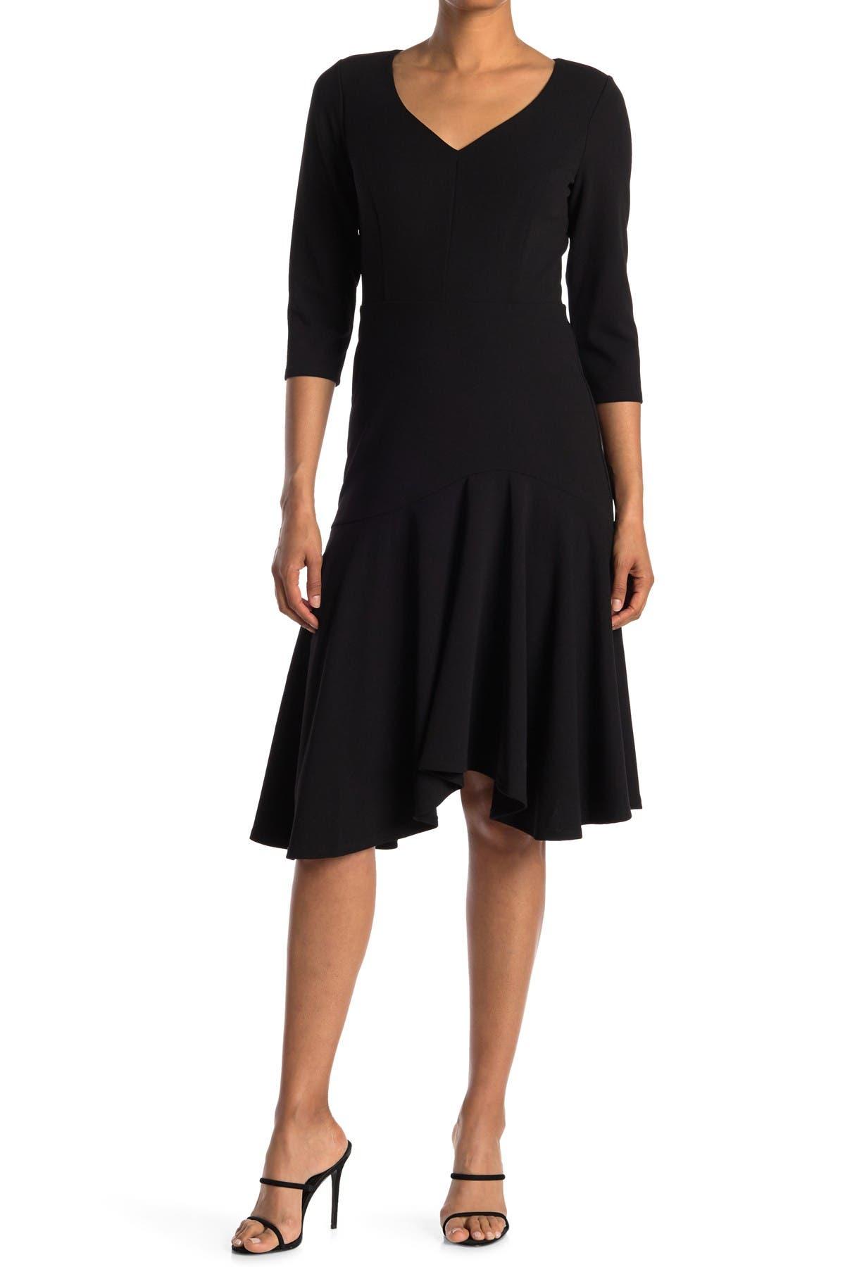 Image of HALSTON Elbow Sleeve Wide V-Neck Flounce Dress