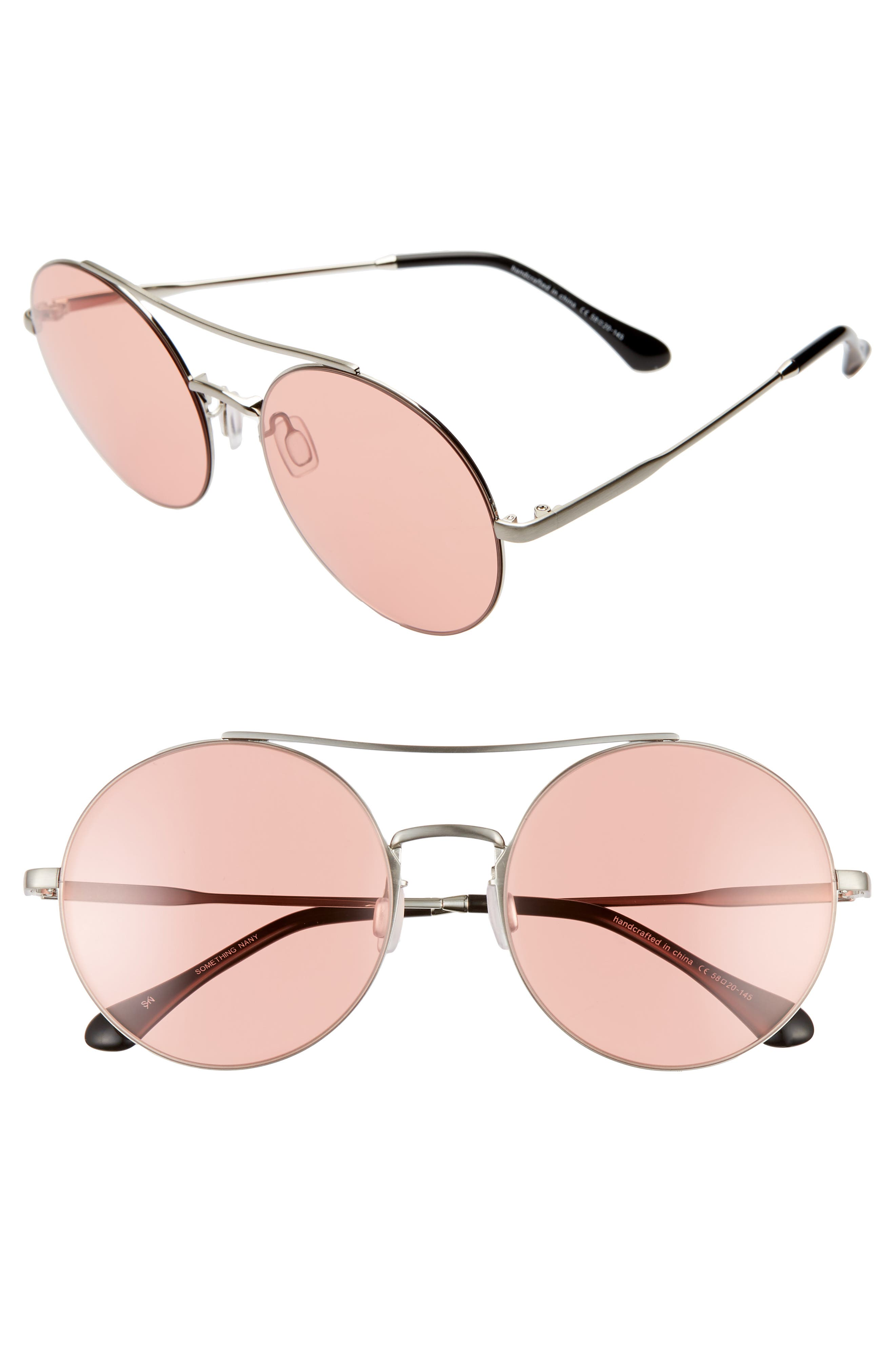 Something Navy 5m Round Aviator Sunglasses - Silver/ Pink (Nordstrom Exclusive)