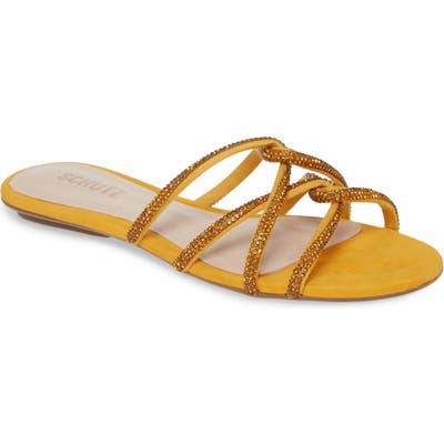 Schutz Uzia Crystal Embellished Slide Sandal, Yellow