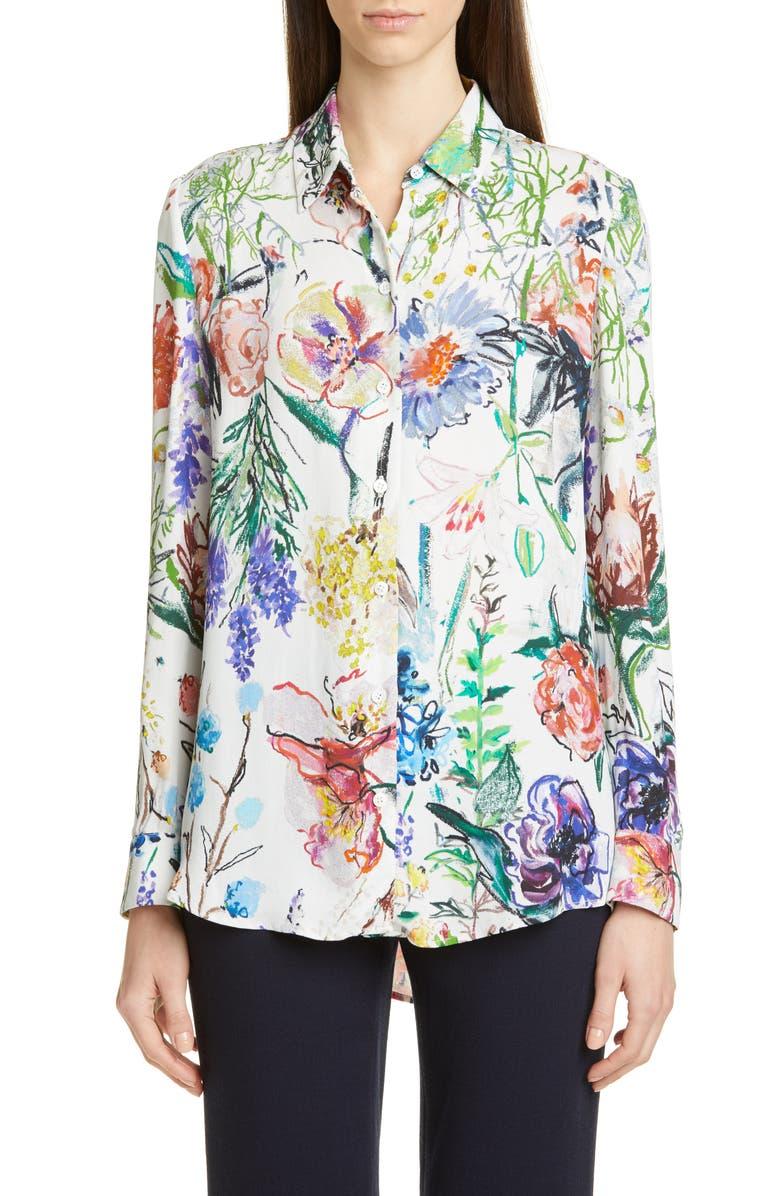 LELA ROSE Sketch Floral Print Blouse, Main, color, IVORY MULTI