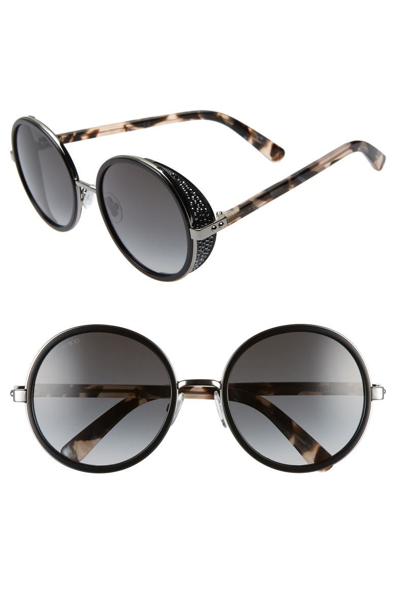 JIMMY CHOO Andiens 54mm Round Sunglasses, Main, color, BLACK