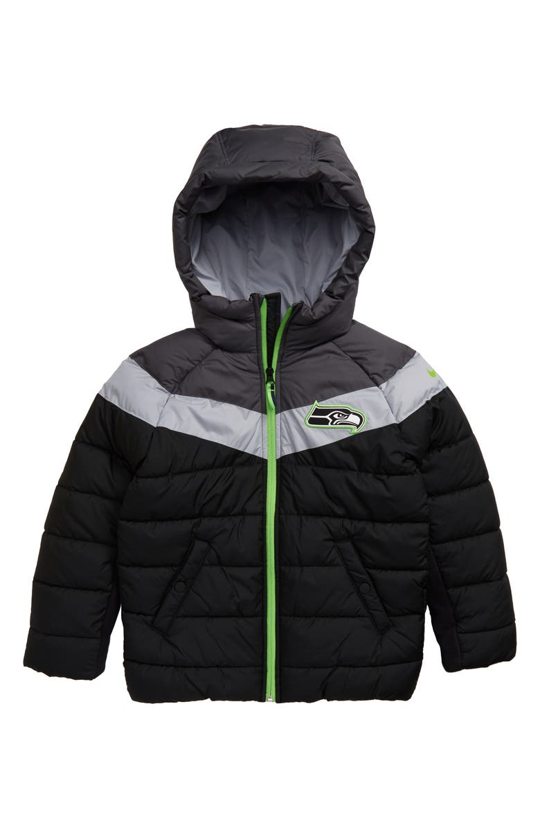NIKE NFL Logo Seattle Seahawks Puffer Jacket, Main, color, BLACK