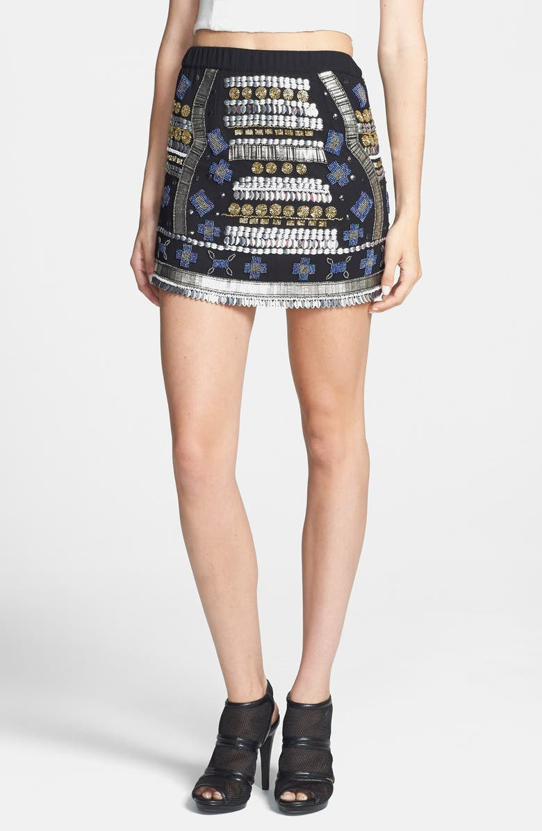 RAGA Beaded Miniskirt, Main, color, BLACK MULTI