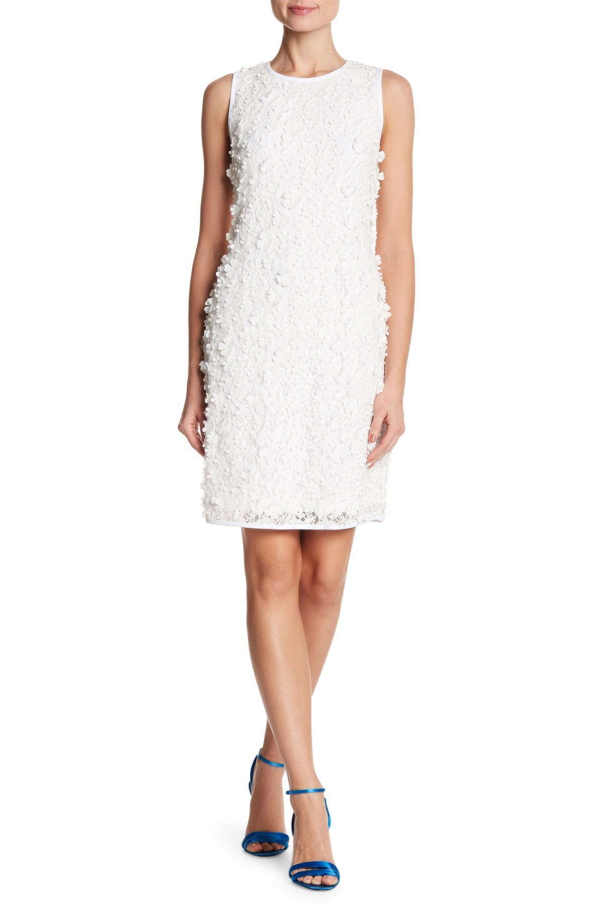 Image of Nina Leonard 3D Flower Lace Sheath Dress