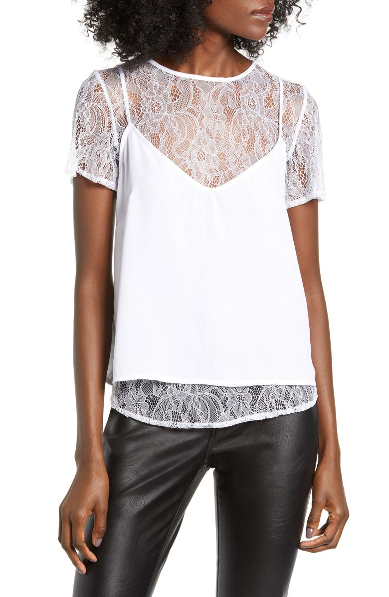 LOVE, FIRE Two-Fer Camisole, Main, color, WHITE