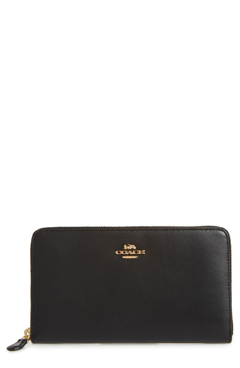 COACH Continental Leather Wallet, Main, color, 005