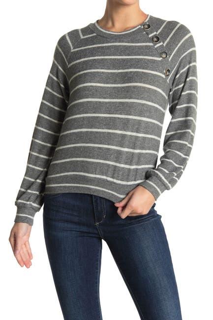 Image of June & Hudson Button Trim Knit Sweatshirt